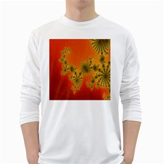 Decorative Fractal Spiral White Long Sleeve T-Shirts