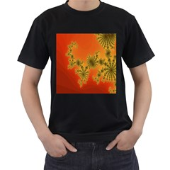 Decorative Fractal Spiral Men s T-Shirt (Black)