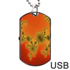 Decorative Fractal Spiral Dog Tag USB Flash (One Side)
