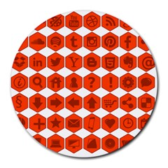 Icon Library Web Icons Internet Social Networks Round Mousepads