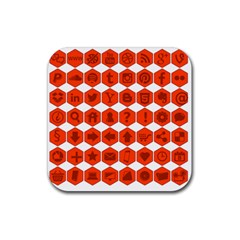 Icon Library Web Icons Internet Social Networks Rubber Square Coaster (4 pack)