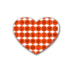 Icon Library Web Icons Internet Social Networks Heart Coaster (4 pack)