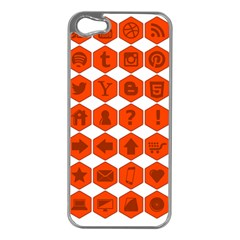 Icon Library Web Icons Internet Social Networks Apple iPhone 5 Case (Silver)