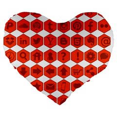 Icon Library Web Icons Internet Social Networks Large 19  Premium Heart Shape Cushions