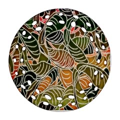 Floral Pattern Background Round Filigree Ornament (two Sides)