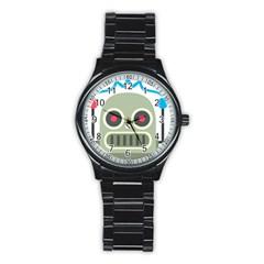 Robot Emoji Stainless Steel Round Watch