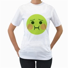 Barf Emoji Women s T-Shirt (White) (Two Sided)
