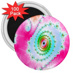 Decorative Fractal Spiral 3  Magnets (100 Pack)
