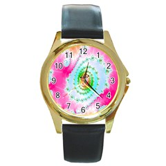 Decorative Fractal Spiral Round Gold Metal Watch
