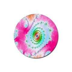 Decorative Fractal Spiral Rubber Round Coaster (4 pack)