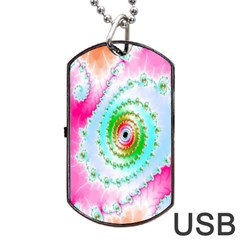 Decorative Fractal Spiral Dog Tag USB Flash (One Side)