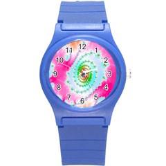 Decorative Fractal Spiral Round Plastic Sport Watch (S)