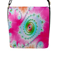 Decorative Fractal Spiral Flap Messenger Bag (l)
