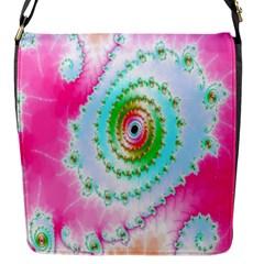 Decorative Fractal Spiral Flap Messenger Bag (S)