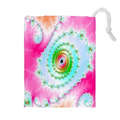 Decorative Fractal Spiral Drawstring Pouches (extra Large)