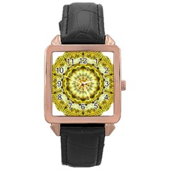 Fractal Flower Rose Gold Leather Watch