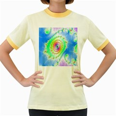 Decorative Fractal Spiral Women s Fitted Ringer T-Shirts
