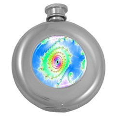 Decorative Fractal Spiral Round Hip Flask (5 Oz)