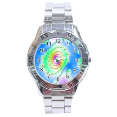 Decorative Fractal Spiral Stainless Steel Analogue Watch
