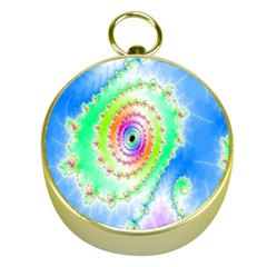 Decorative Fractal Spiral Gold Compasses