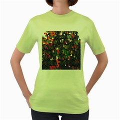 Colorful Abstract Background Women s Green T Shirt