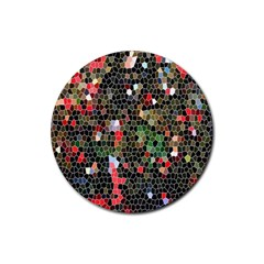 Colorful Abstract Background Rubber Coaster (round)