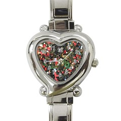 Colorful Abstract Background Heart Italian Charm Watch