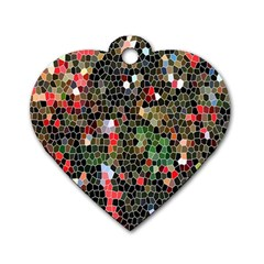 Colorful Abstract Background Dog Tag Heart (One Side)