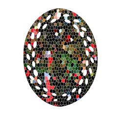 Colorful Abstract Background Oval Filigree Ornament (Two Sides)
