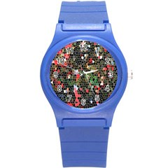 Colorful Abstract Background Round Plastic Sport Watch (S)