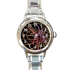Black Widow Spider, Yellow Web Round Italian Charm Watch