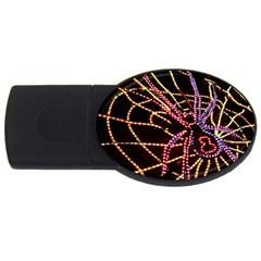 Black Widow Spider, Yellow Web Usb Flash Drive Oval (2 Gb)