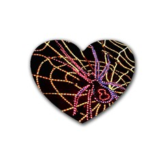 Black Widow Spider, Yellow Web Heart Coaster (4 pack)