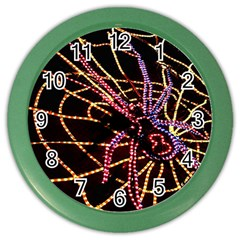 Black Widow Spider, Yellow Web Color Wall Clocks