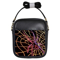 Black Widow Spider, Yellow Web Girls Sling Bags