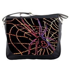 Black Widow Spider, Yellow Web Messenger Bags