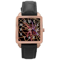Black Widow Spider, Yellow Web Rose Gold Leather Watch