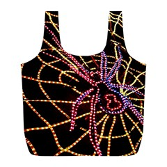 Black Widow Spider, Yellow Web Full Print Recycle Bags (L)