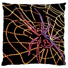 Black Widow Spider, Yellow Web Large Flano Cushion Case (Two Sides)