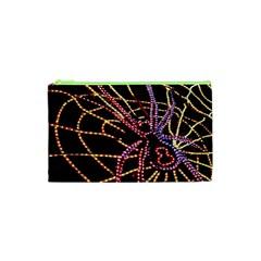 Black Widow Spider, Yellow Web Cosmetic Bag (XS)