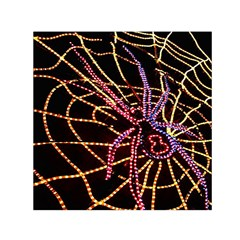 Black Widow Spider, Yellow Web Small Satin Scarf (Square)