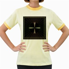 Fractal Rays Women s Fitted Ringer T-Shirts
