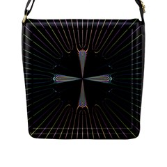 Fractal Rays Flap Messenger Bag (L)