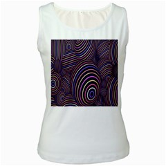 Abstract Colorful Spheres Women s White Tank Top