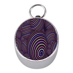 Abstract Colorful Spheres Mini Silver Compasses