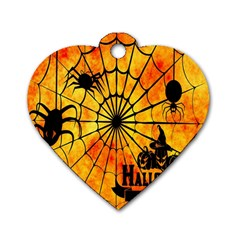 Halloween Weird  Surreal Atmosphere Dog Tag Heart (two Sides)