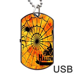 Halloween Weird  Surreal Atmosphere Dog Tag USB Flash (Two Sides)