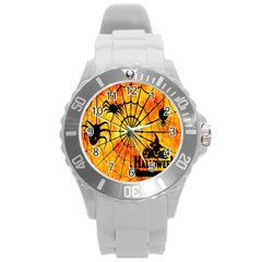 Halloween Weird  Surreal Atmosphere Round Plastic Sport Watch (L)