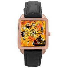 Halloween Weird  Surreal Atmosphere Rose Gold Leather Watch