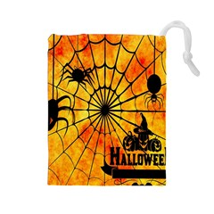 Halloween Weird  Surreal Atmosphere Drawstring Pouches (Large)